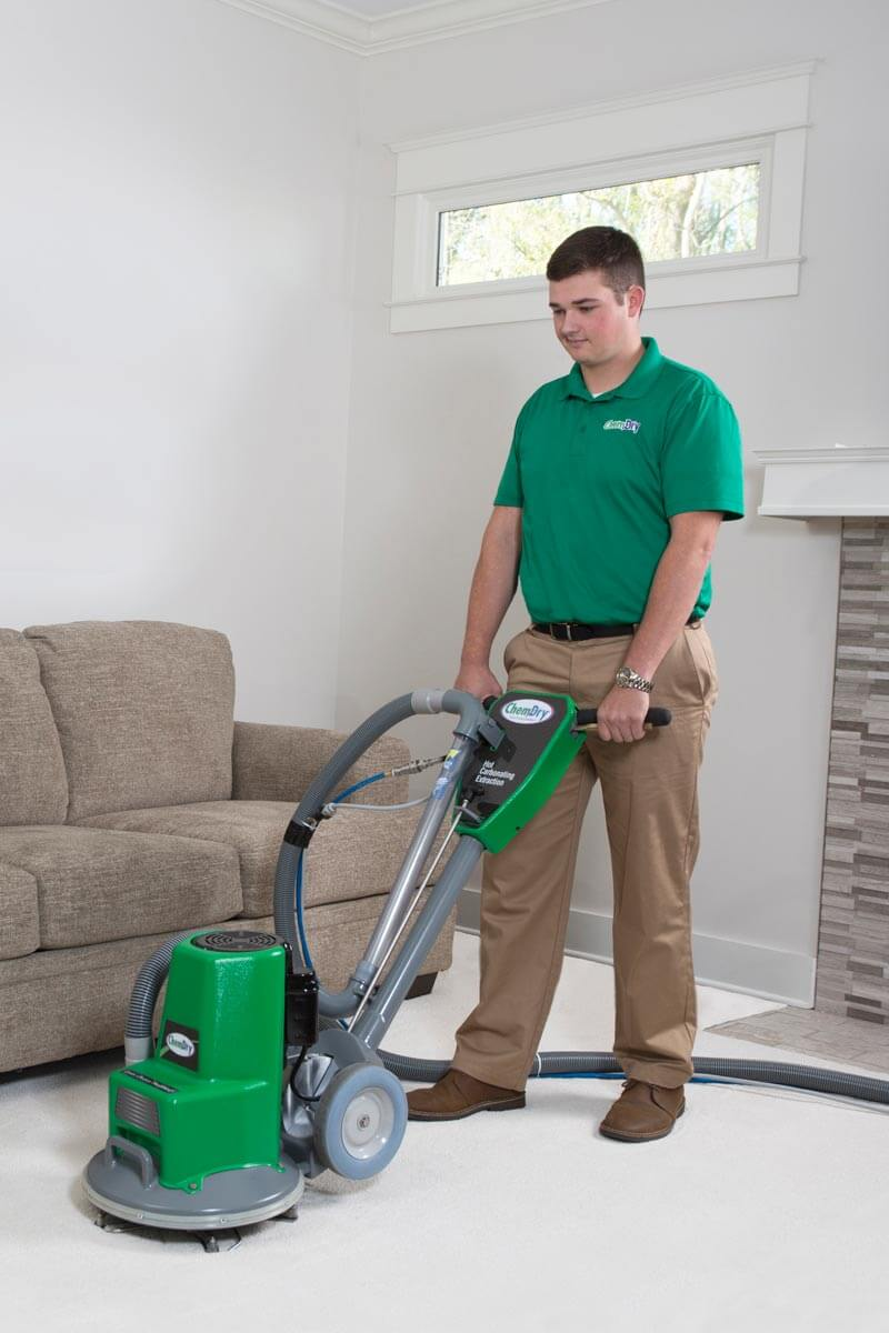 chem-dry tech performing carpet cleaning in orange county ca
