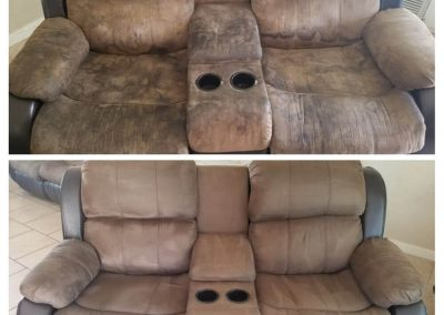 brown couch before and after upholstery cleaning in Orange County