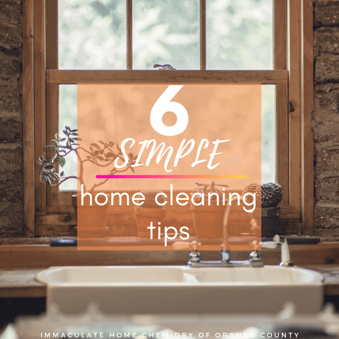 6 simple home cleaning tips graphic