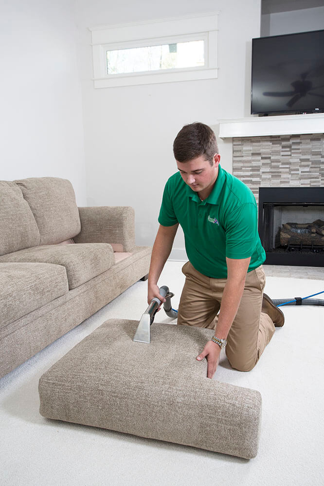 chem-dry tech performing upholstery cleaning in huntington beach ca