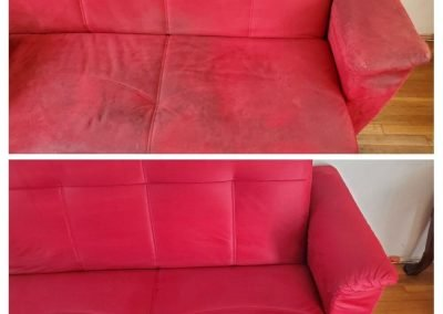 red couch before and after upholstery cleaning in newport beach ca