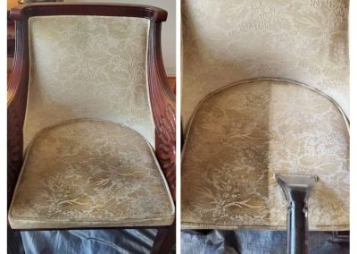 vintage chair before and after upholstery cleaning in newport beach ca