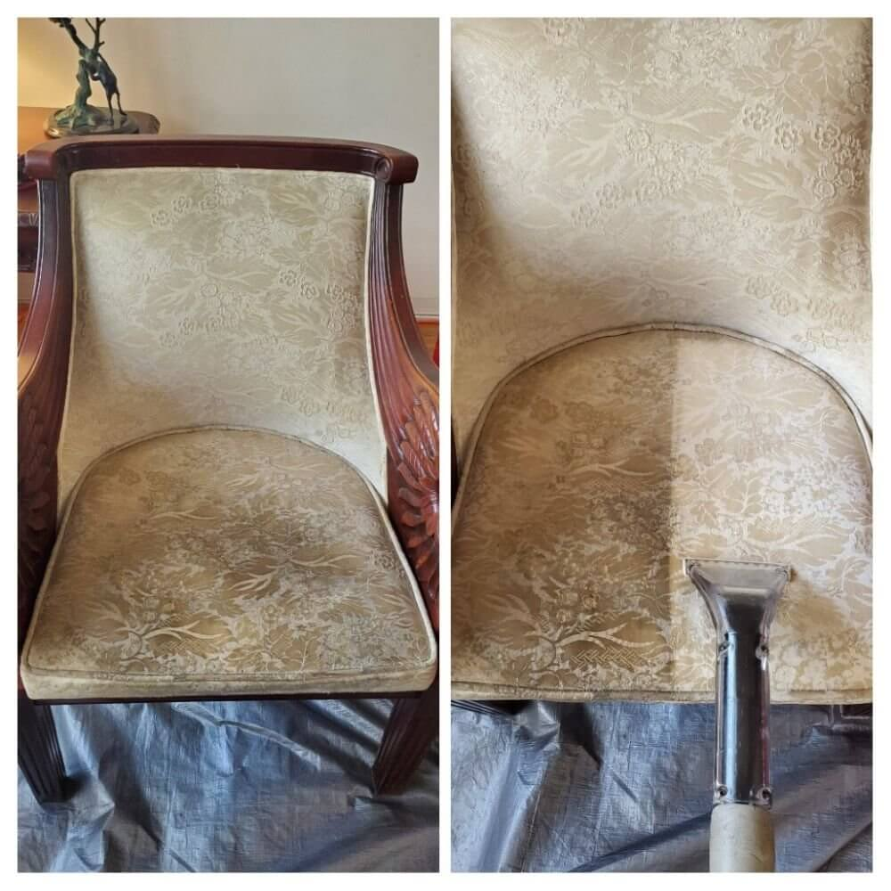 vintage chair before and after upholstery cleaning torrance ca