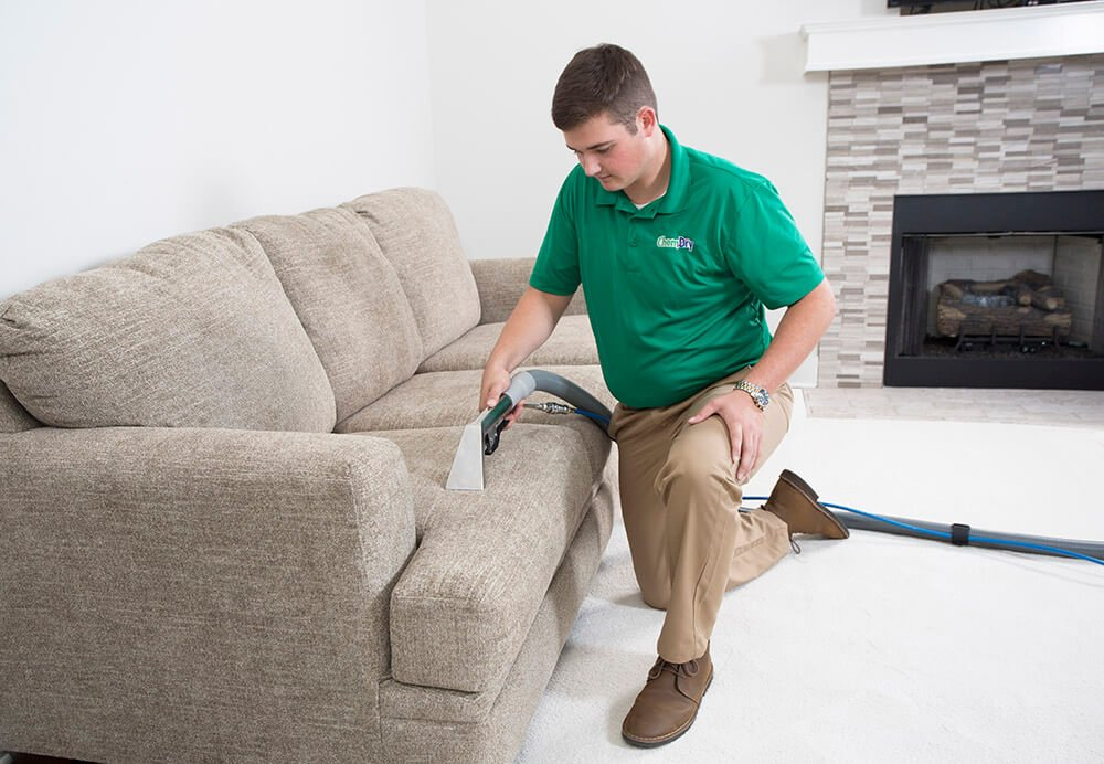 chem-dry tech performing upholstery cleaning in seal beach