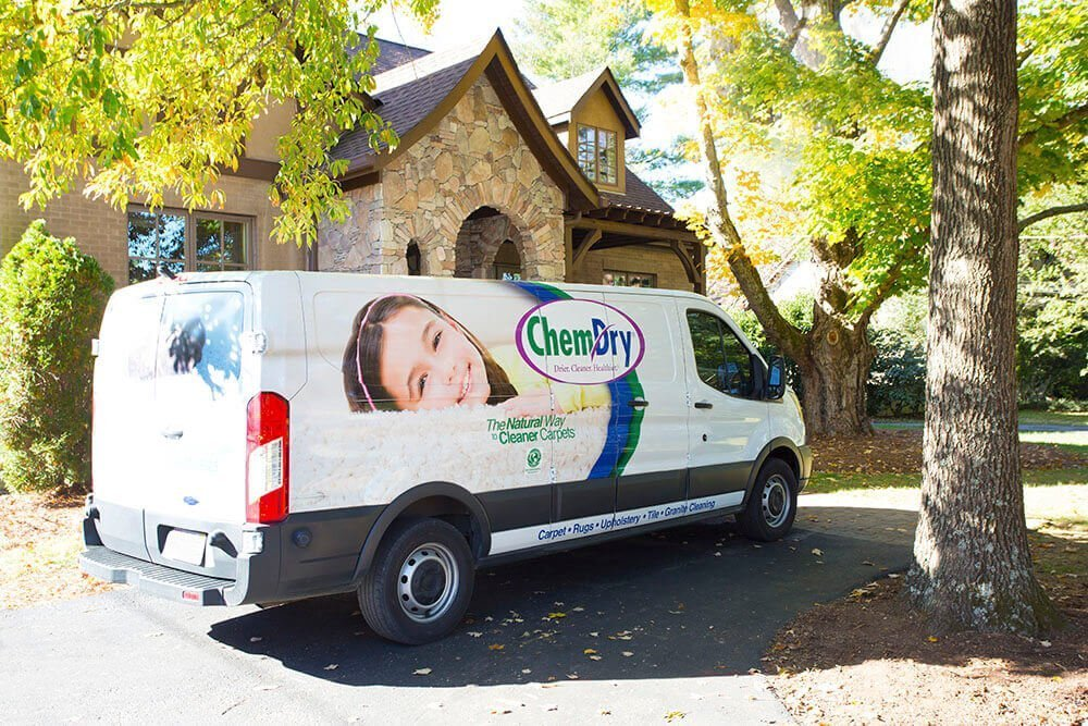 Immaculate Home Chem-Dry van parked outside of home in Orange County