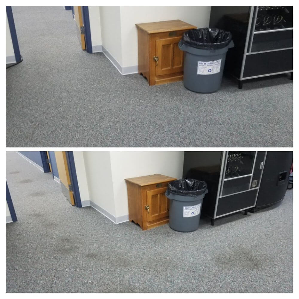 office carpet before and after commercial cleaning in orange county