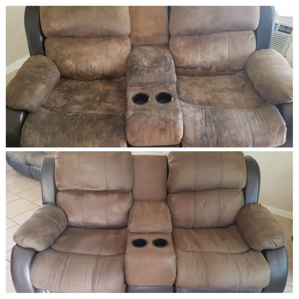 brown sofa before and after upholstery cleaning newport beach ca