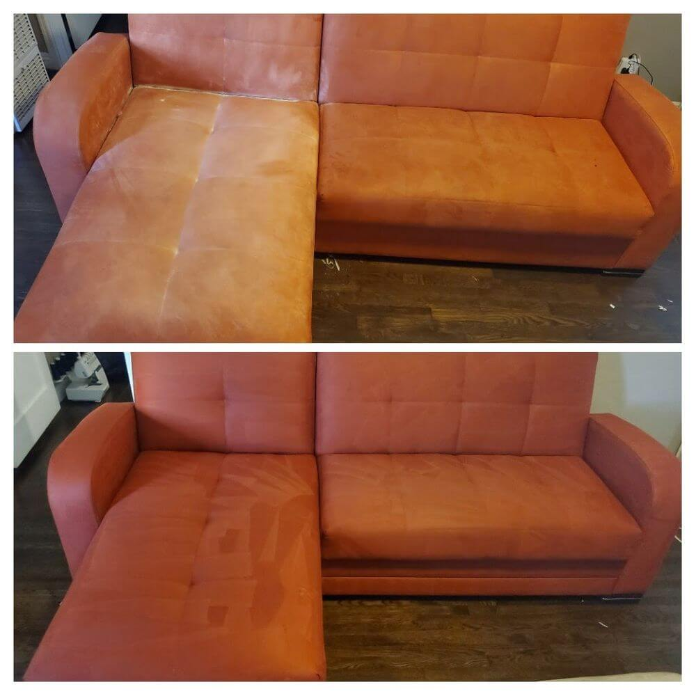 pink sofa before and after upholstery cleaning huntington beach ca